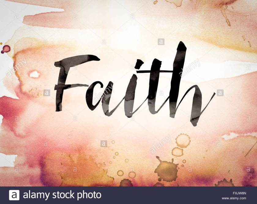 the-word-faith-written-in-black-paint-on-a-colorful-watercolor-washed-FXJW8N